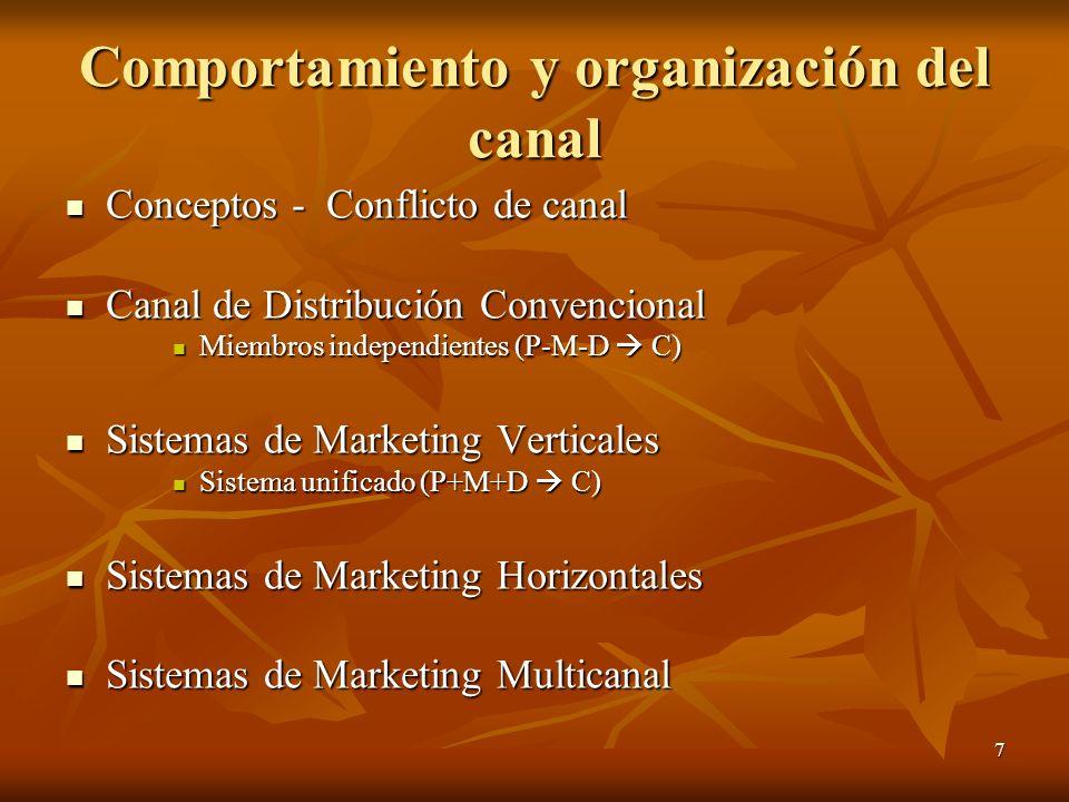 Comportamiento y organización del canal