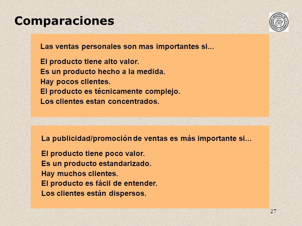 Comparaciones Las ventas personales son mas importantes si...