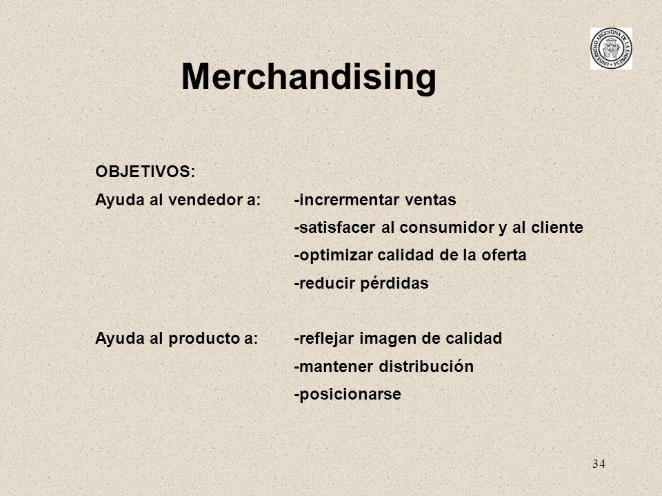 Merchandising OBJETIVOS: Ayuda al vendedor a: -incrermentar ventas