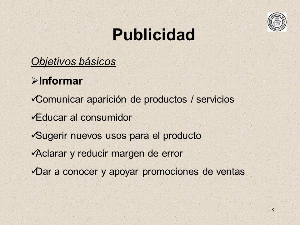 Publicidad Objetivos básicos Informar