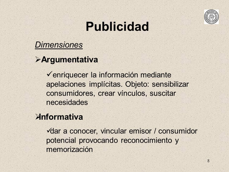 Publicidad Dimensiones Argumentativa