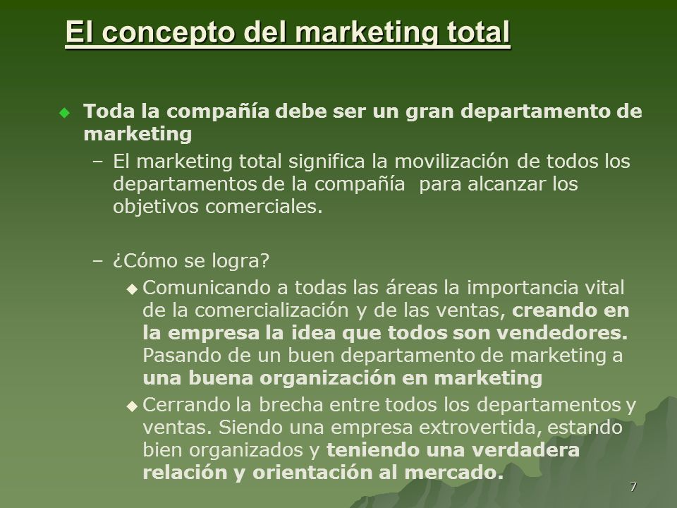 El concepto del marketing total