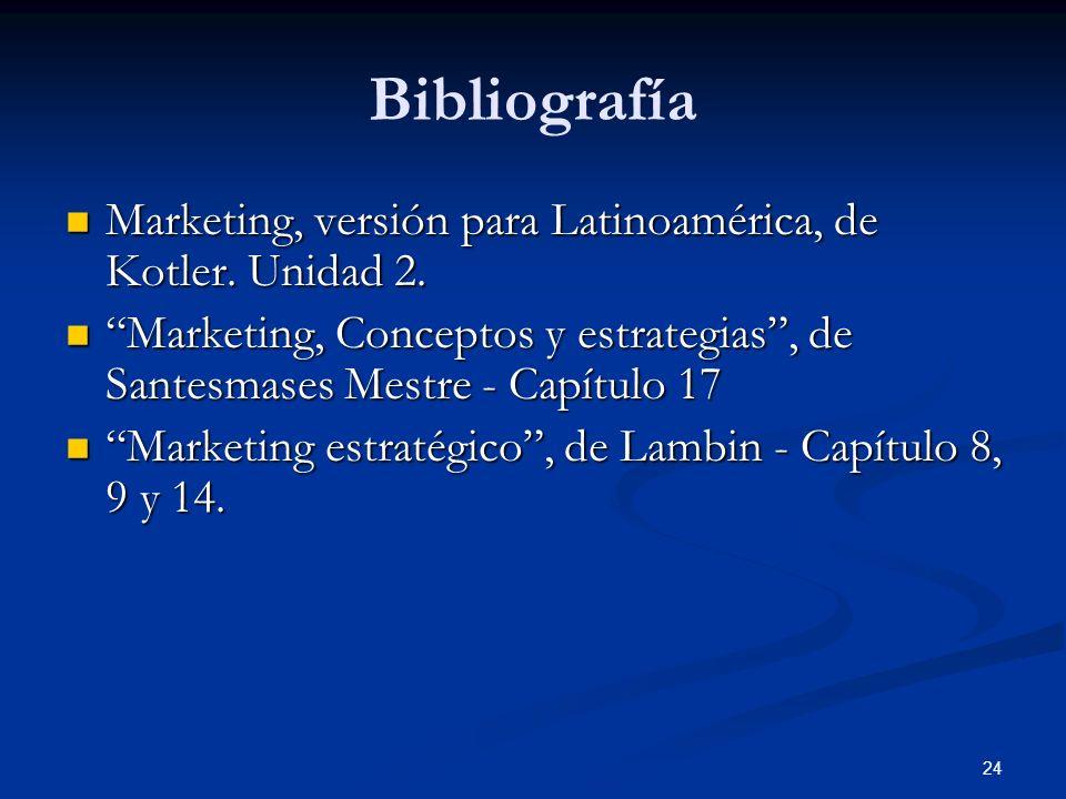 Bibliografía Marketing, versión para Latinoamérica, de Kotler. Unidad 2. Marketing, Conceptos y estrategias , de Santesmases Mestre - Capítulo 17.