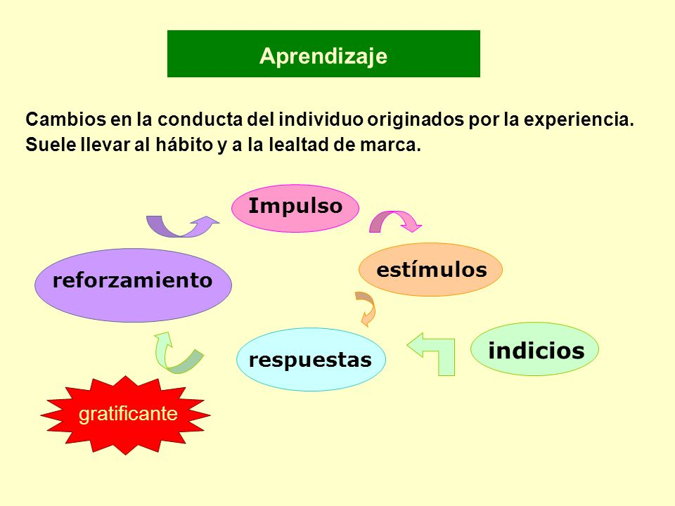 Aprendizaje indicios Impulso estímulos reforzamiento respuestas