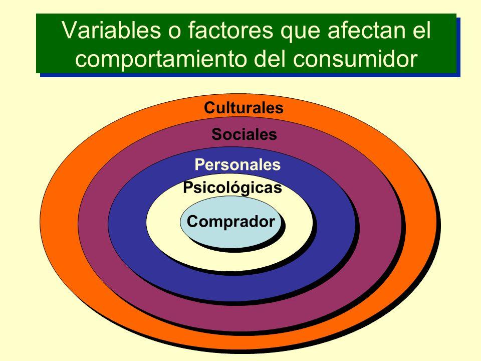 Variables o factores que afectan el comportamiento del consumidor
