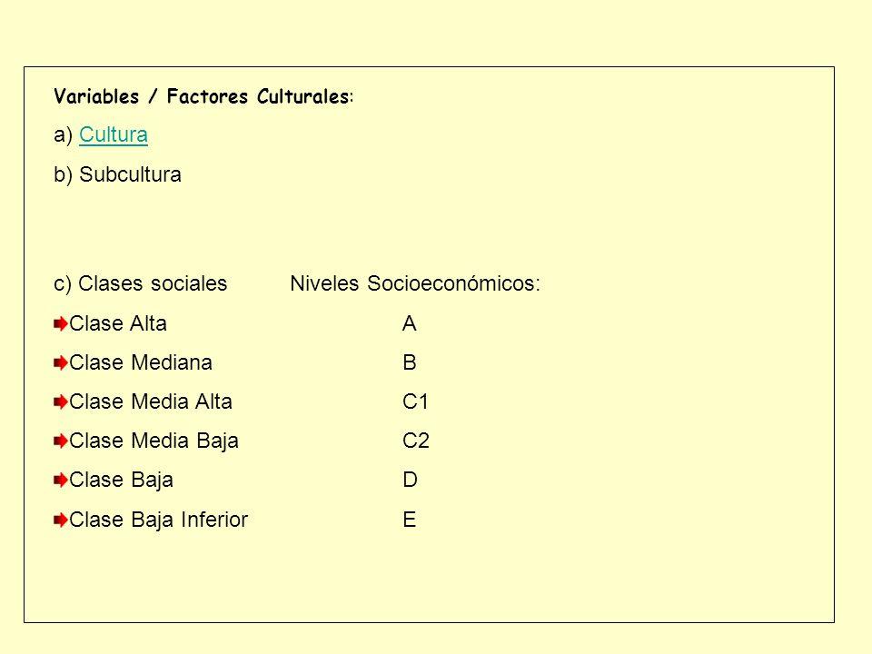 c) Clases sociales Niveles Socioeconómicos: Clase Alta A