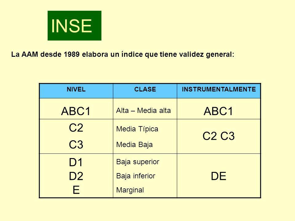 INSE La AAM desde 1989 elabora un índice que tiene validez general: NIVEL. CLASE. INSTRUMENTALMENTE.
