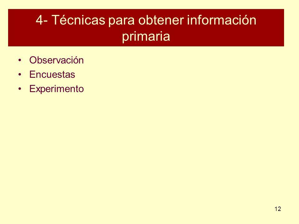 4- Técnicas para obtener información primaria