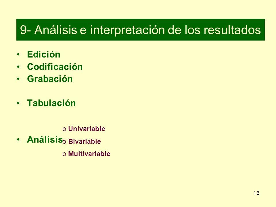 9- Análisis e interpretación de los resultados