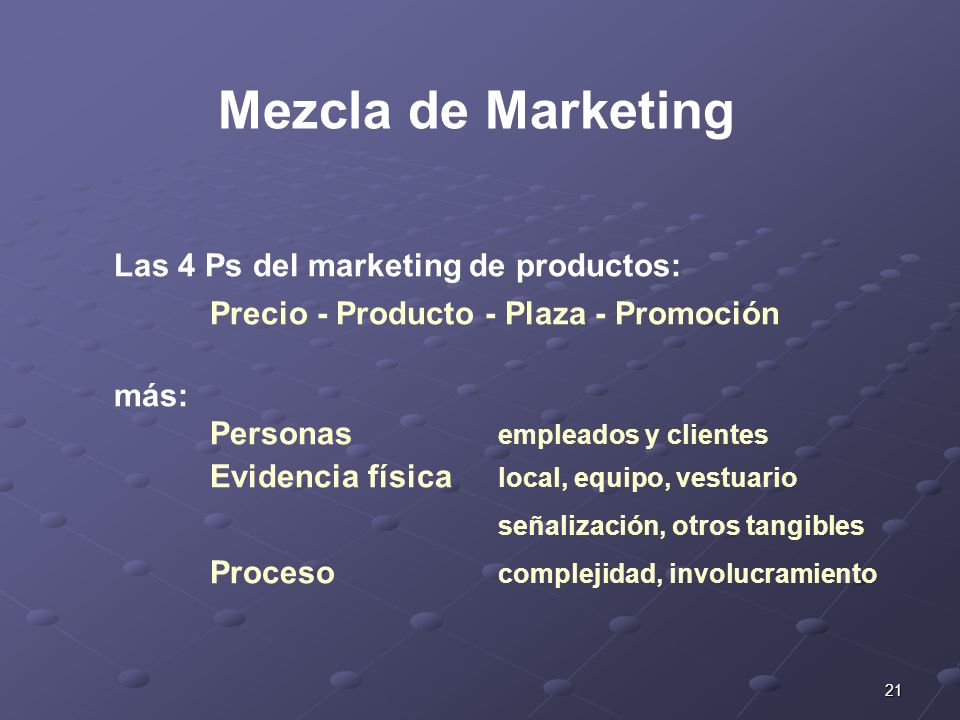 Mezcla de Marketing Las 4 Ps del marketing de productos:
