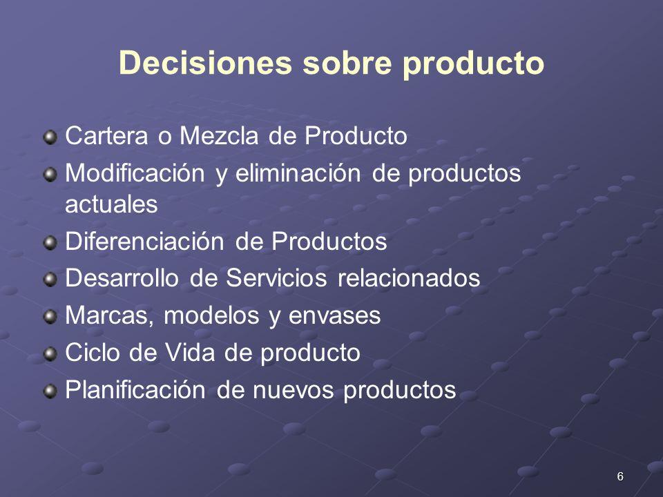 Decisiones sobre producto