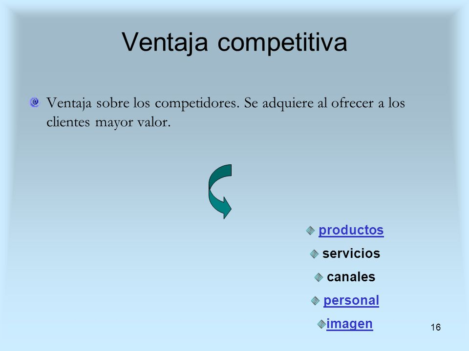 Ventaja competitiva Ventaja sobre los competidores. Se adquiere al ofrecer a los clientes mayor valor.