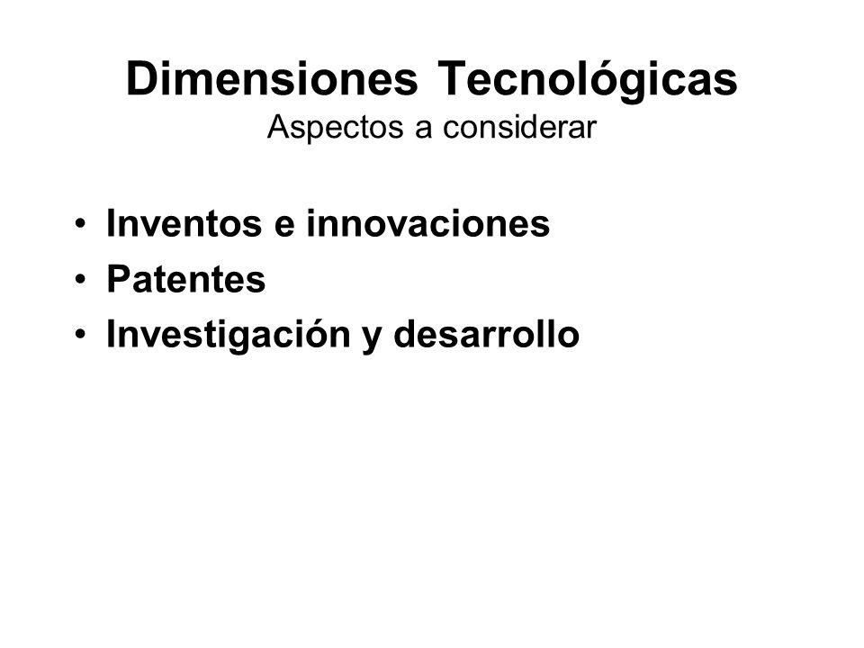 Dimensiones Tecnológicas Aspectos a considerar