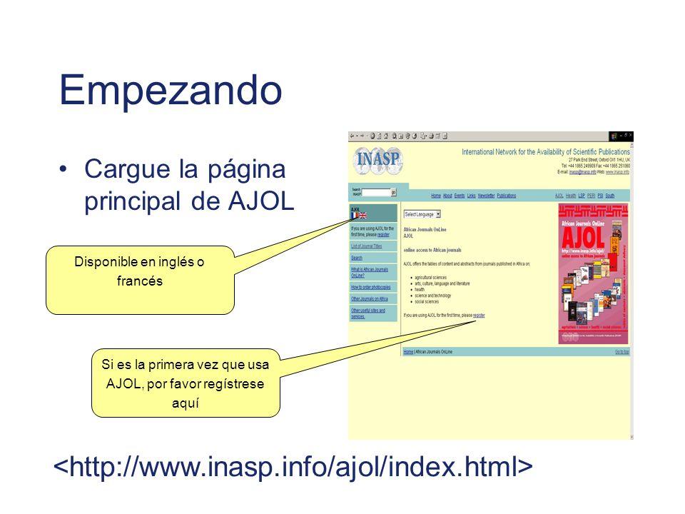 Empezando <http://www.inasp.info/ajol/index.html>