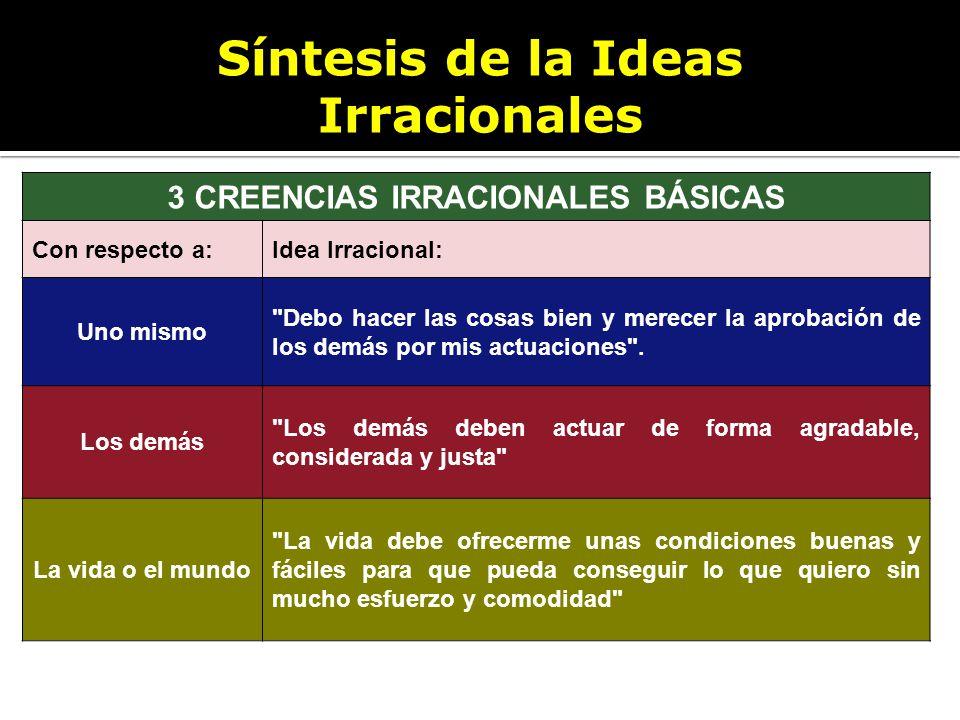Síntesis de la Ideas Irracionales 3 CREENCIAS IRRACIONALES BÁSICAS