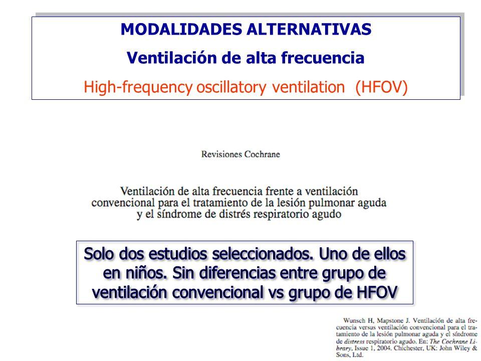 MODALIDADES ALTERNATIVAS Ventilación de alta frecuencia