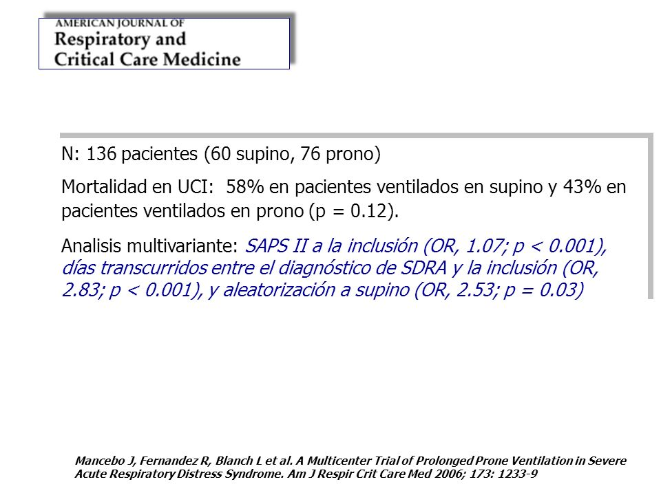 N: 136 pacientes (60 supino, 76 prono)