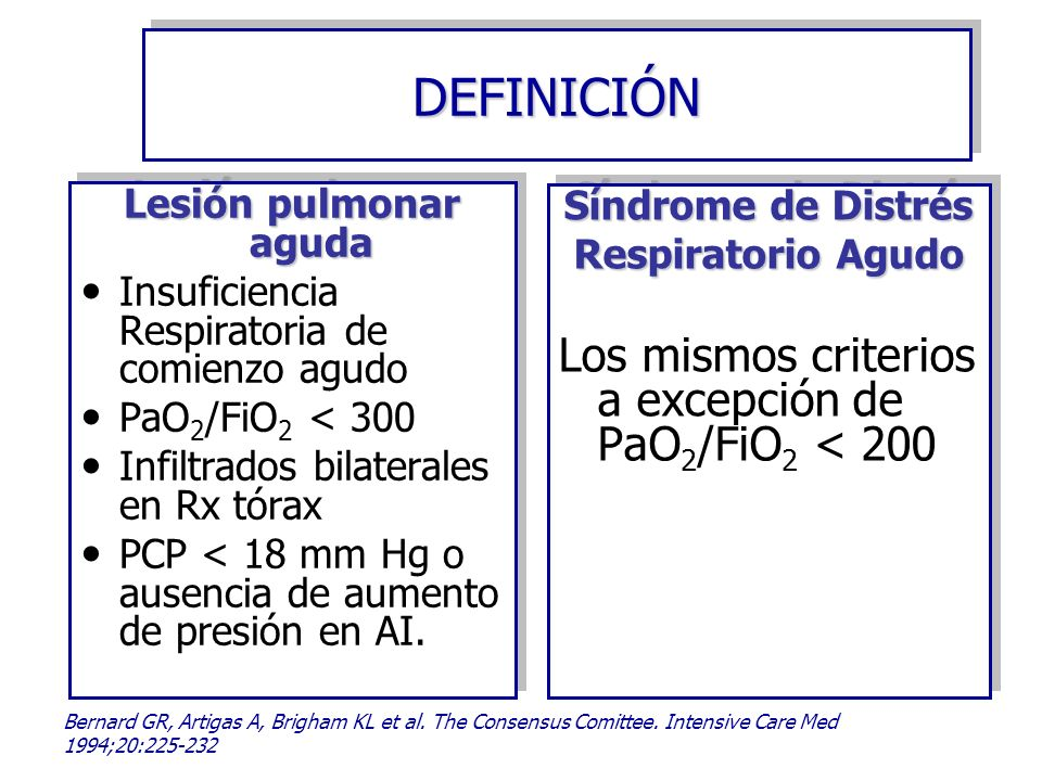 DEFINICIÓN Los mismos criterios a excepción de PaO2/FiO2 < 200