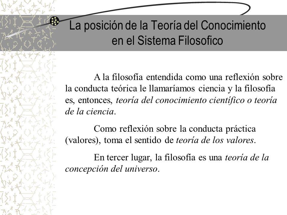 La posición de la Teoría del Conocimiento en el Sistema Filosofico