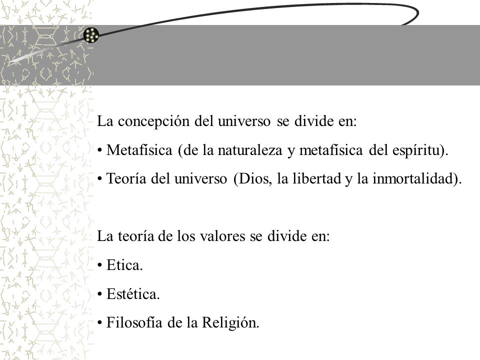 La concepción del universo se divide en: