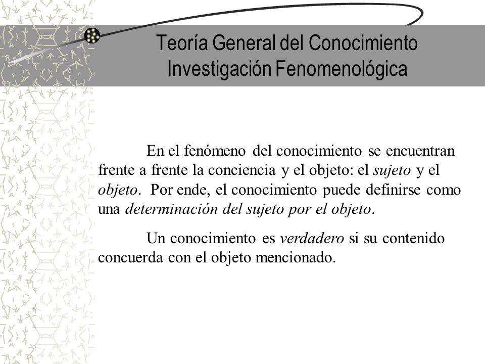 Teoría General del Conocimiento Investigación Fenomenológica