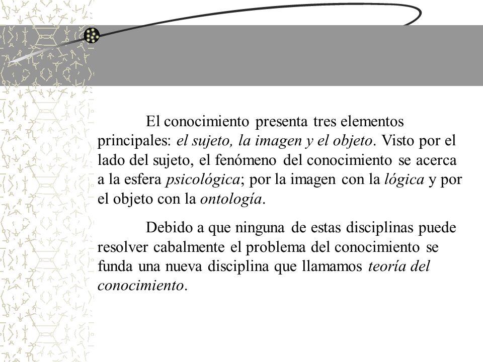 El conocimiento presenta tres elementos principales: el sujeto, la imagen y el objeto. Visto por el lado del sujeto, el fenómeno del conocimiento se acerca a la esfera psicológica; por la imagen con la lógica y por el objeto con la ontología.