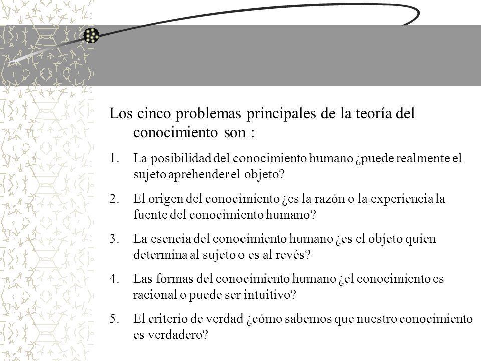 Los cinco problemas principales de la teoría del conocimiento son :