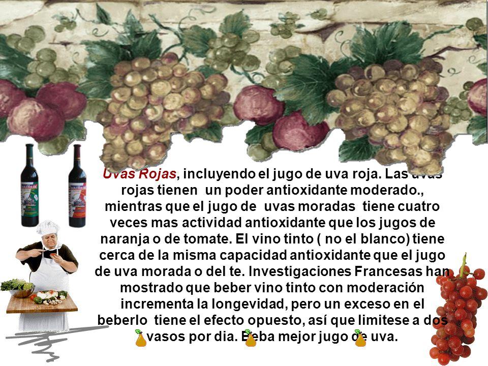Uvas Rojas, incluyendo el jugo de uva roja