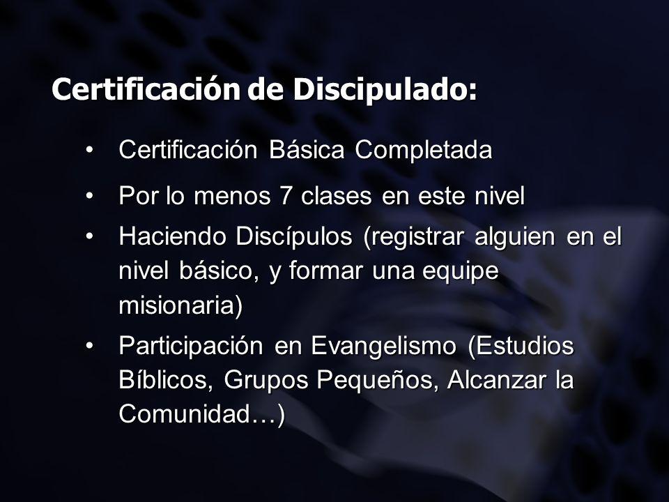 Certificación de Discipulado: