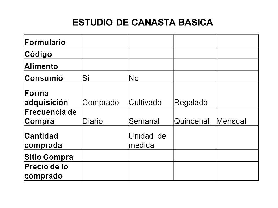 ESTUDIO DE CANASTA BASICA