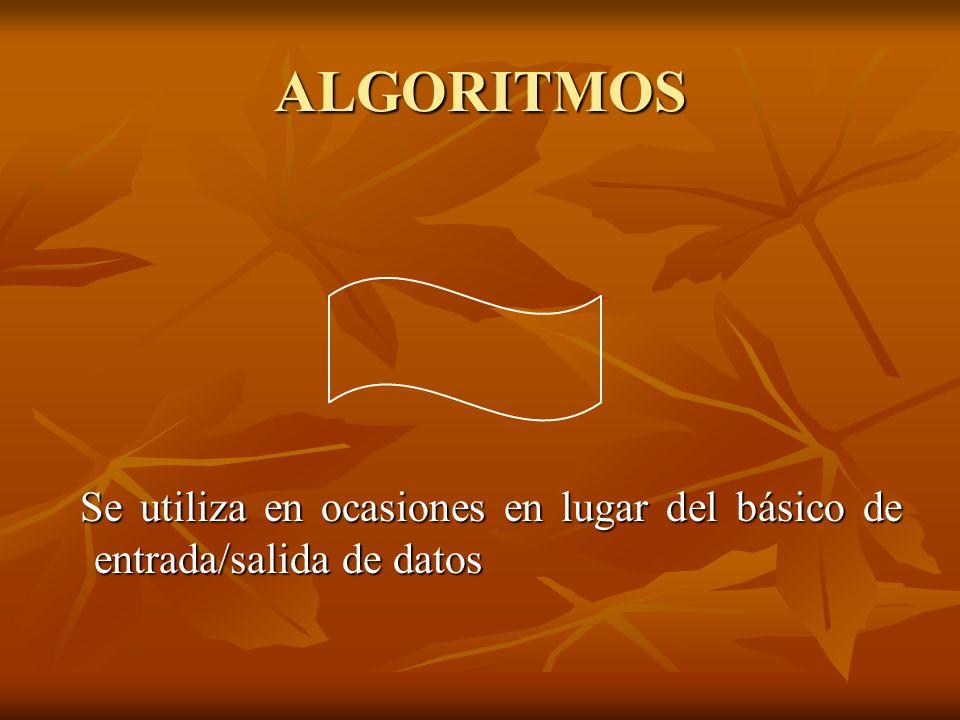 ALGORITMOS Se utiliza en ocasiones en lugar del básico de entrada/salida de datos