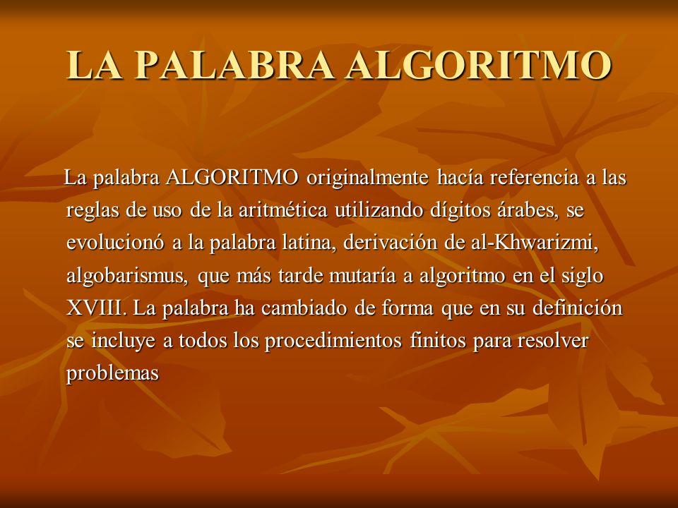 LA PALABRA ALGORITMO