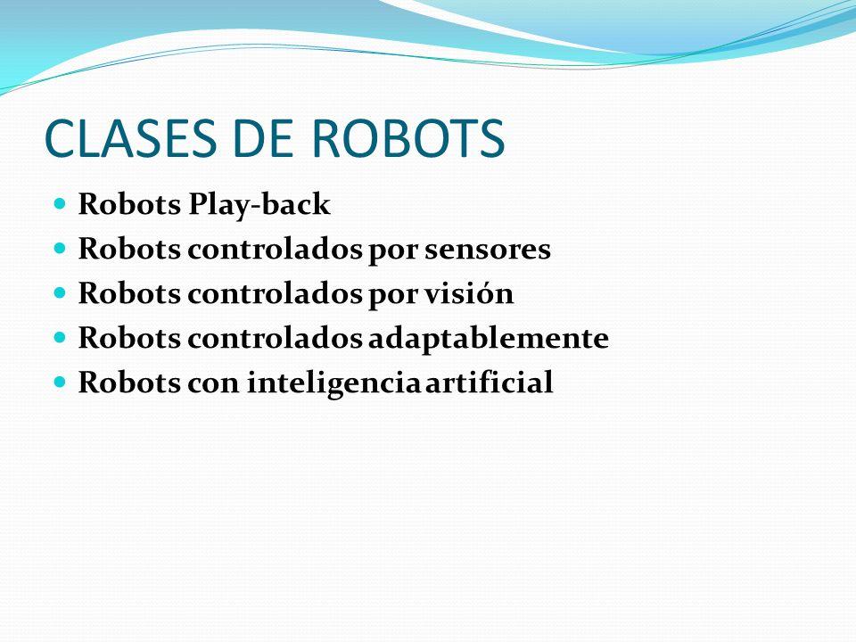 CLASES DE ROBOTS Robots Play-back Robots controlados por sensores