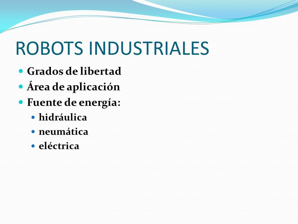 ROBOTS INDUSTRIALES Grados de libertad Área de aplicación