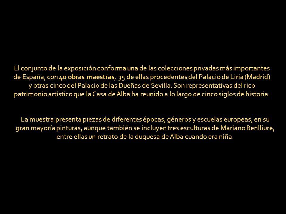 El conjunto de la exposición conforma una de las colecciones privadas más importantes de España, con 40 obras maestras, 35 de ellas procedentes del Palacio de Liria (Madrid) y otras cinco del Palacio de las Dueñas de Sevilla. Son representativas del rico patrimonio artístico que la Casa de Alba ha reunido a lo largo de cinco siglos de historia.