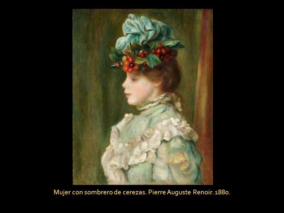 Mujer con sombrero de cerezas. Pierre Auguste Renoir. 1880.