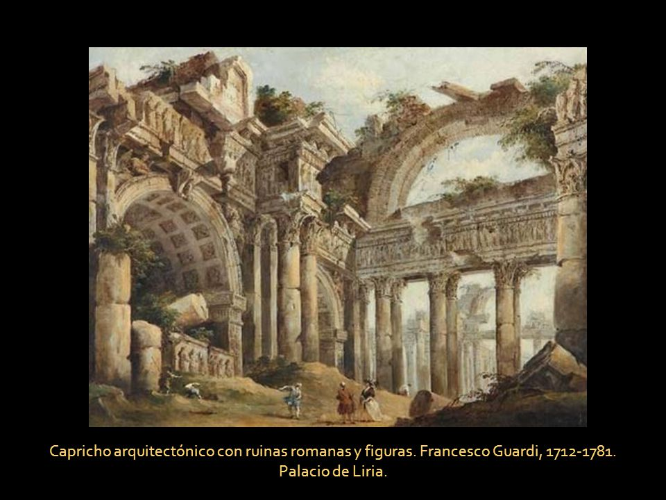 Capricho arquitectónico con ruinas romanas y figuras