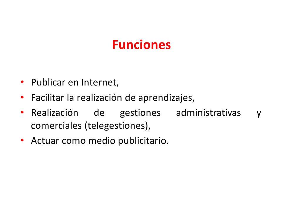 Funciones Publicar en Internet,