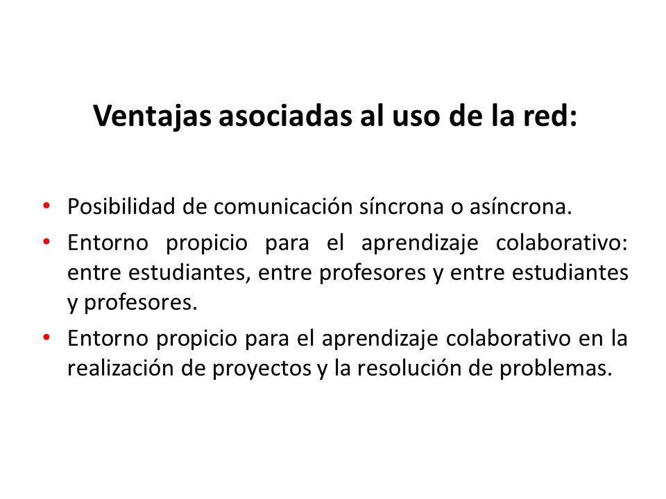 Ventajas asociadas al uso de la red: