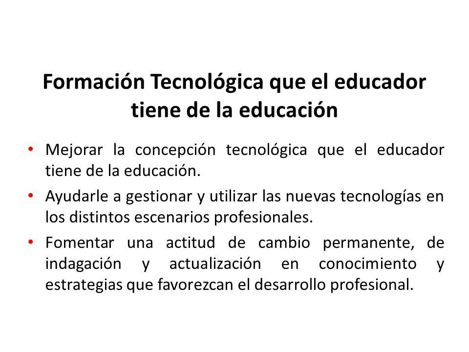 Formación Tecnológica que el educador tiene de la educación