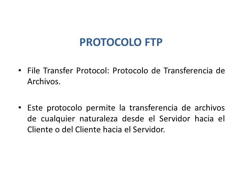 PROTOCOLO FTP File Transfer Protocol: Protocolo de Transferencia de Archivos.