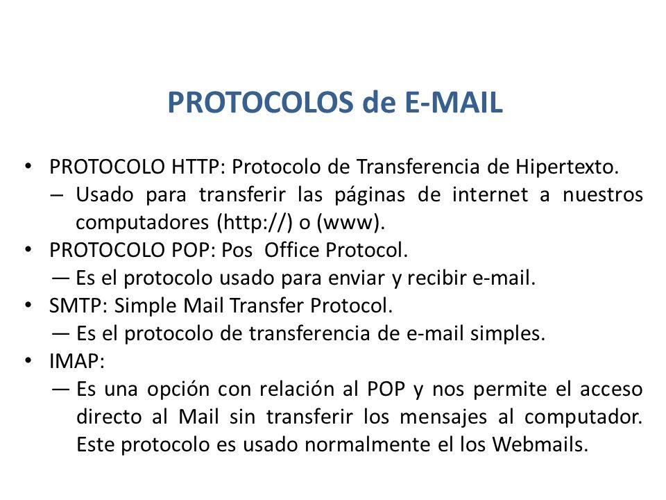 PROTOCOLOS de E-MAIL PROTOCOLO HTTP: Protocolo de Transferencia de Hipertexto.
