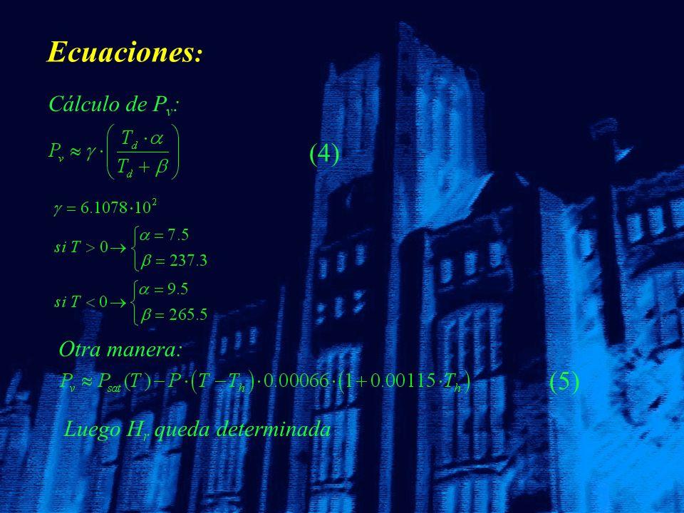 Ecuaciones: (4) (5) Cálculo de Pv: Otra manera: