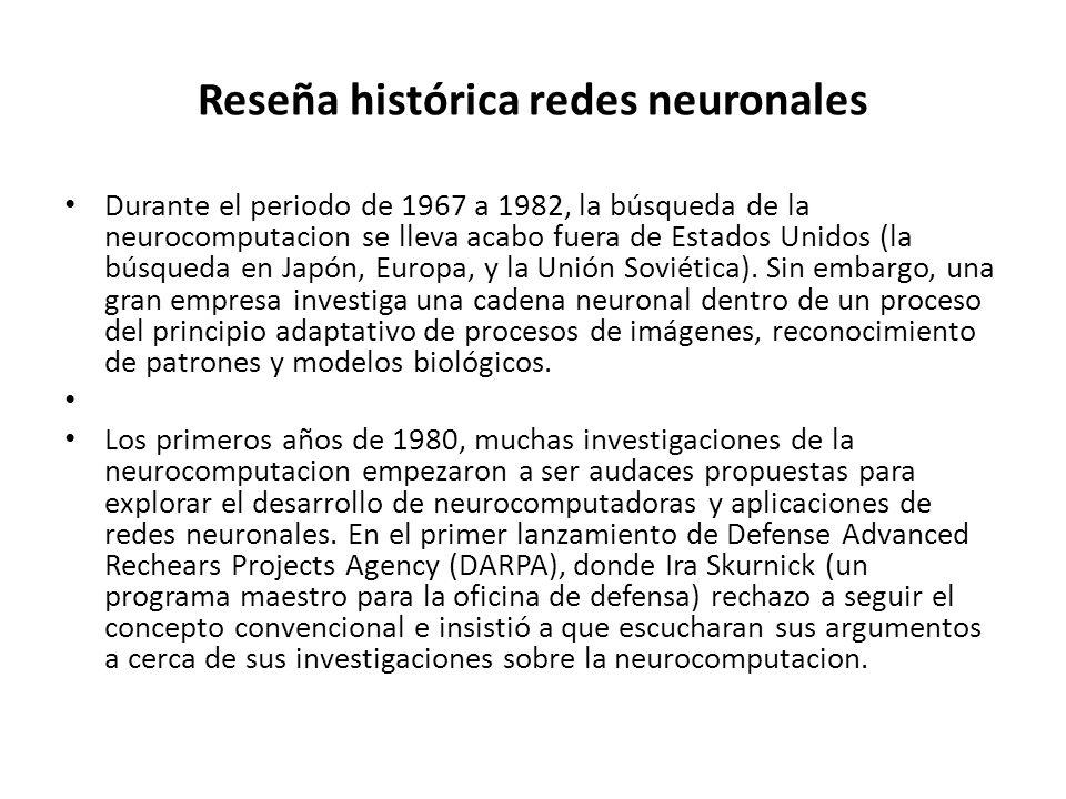 Reseña histórica redes neuronales