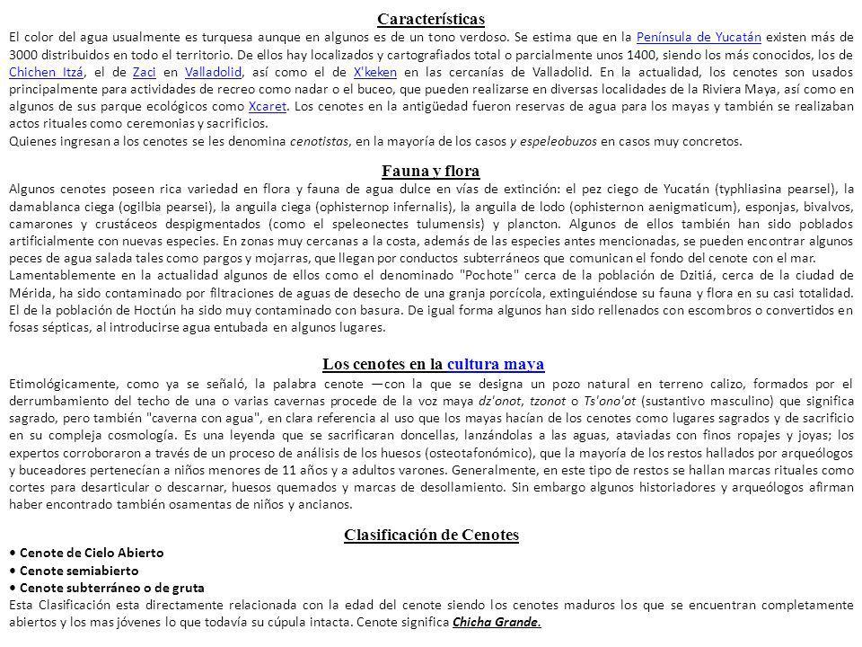 Los cenotes en la cultura maya Clasificación de Cenotes