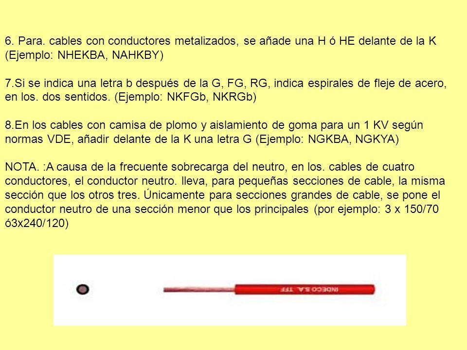 6. Para. cables con conductores metalizados, se añade una H ó HE delante de la K (Ejemplo: NHEKBA, NAHKBY)