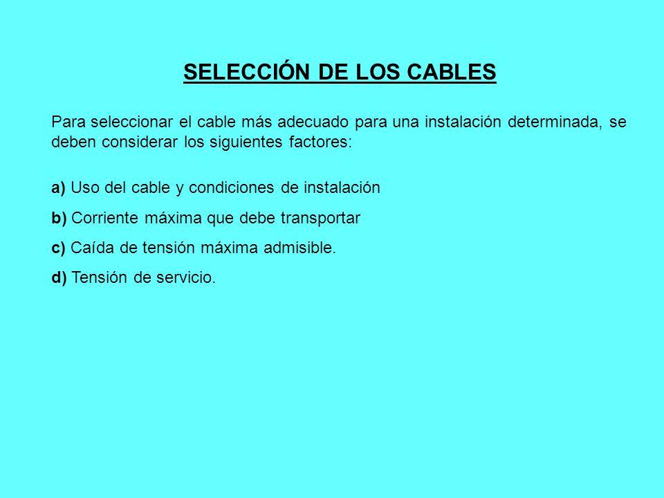SELECCIÓN DE LOS CABLES