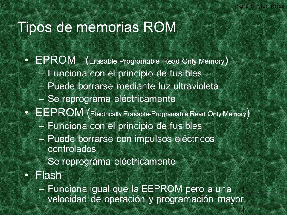 Tipos de memorias ROM EPROM (Erasable-Programable Read Only Memory)