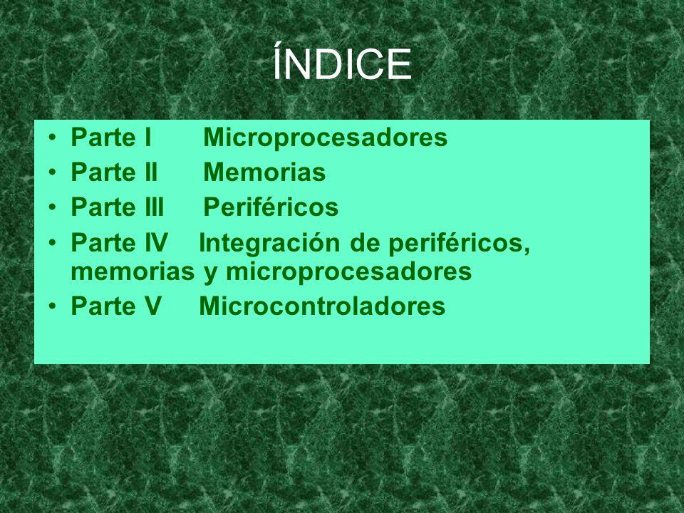 ÍNDICE Parte I Microprocesadores Parte II Memorias