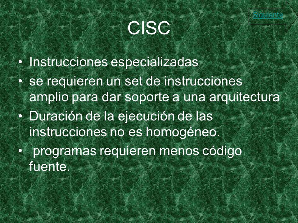 CISC Instrucciones especializadas
